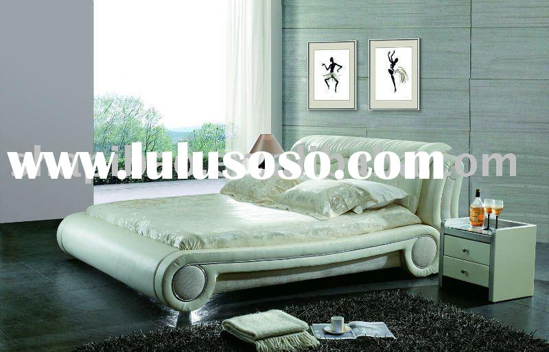 2011 modern bedroom furniture leather full size soft bed setsV9029