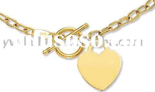 2011 newest 14k Yellow Gold Toggle Heart Necklace,fashion necklace jewelry