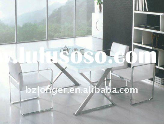 2011 white power coated leg and glass dining table sets