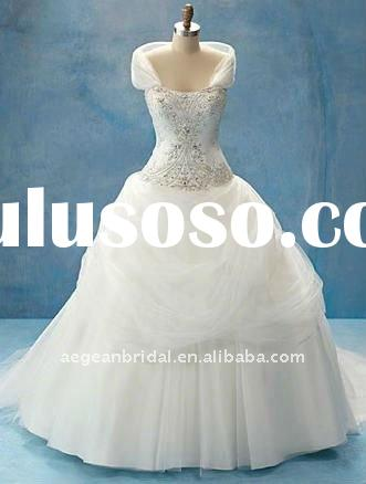 2011 wholesale gracious detachable shrug added embroidered tulle satin bridal wedding gown ZS-a0020
