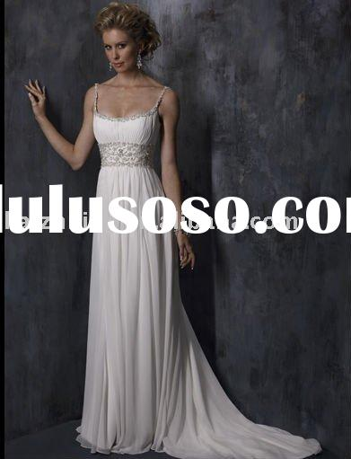 2011long beach with beaded belt organza exquisite backless lace Bridal Gown wedding dress
