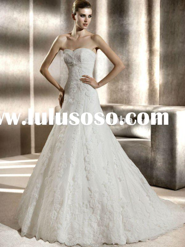 2012 Designer Beaded Empire Waist Belt Lace Cover Slim A-line Wedding Dress