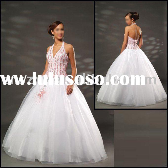 2012 Halter Organza Appliqued Beaded Long Attractive Princess Skirt Prom Dresses -- PD4560