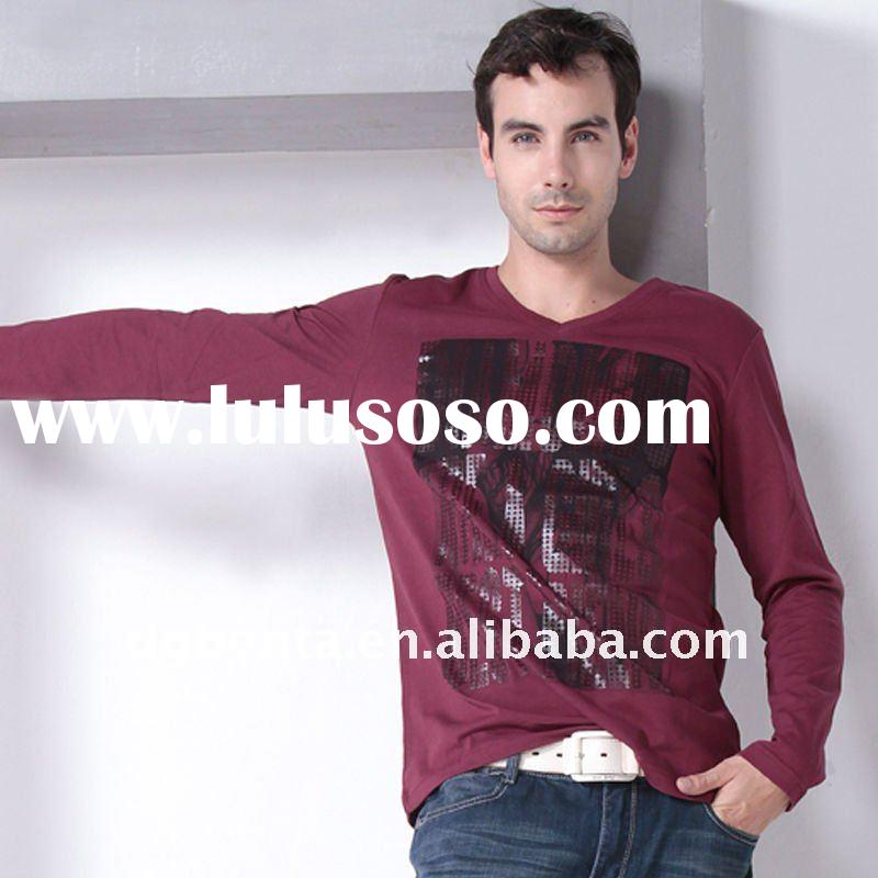 2012 Hot Selling Spring Newest Fashion Design High Quality Long Sleeve Printing Cotton Plain Man&