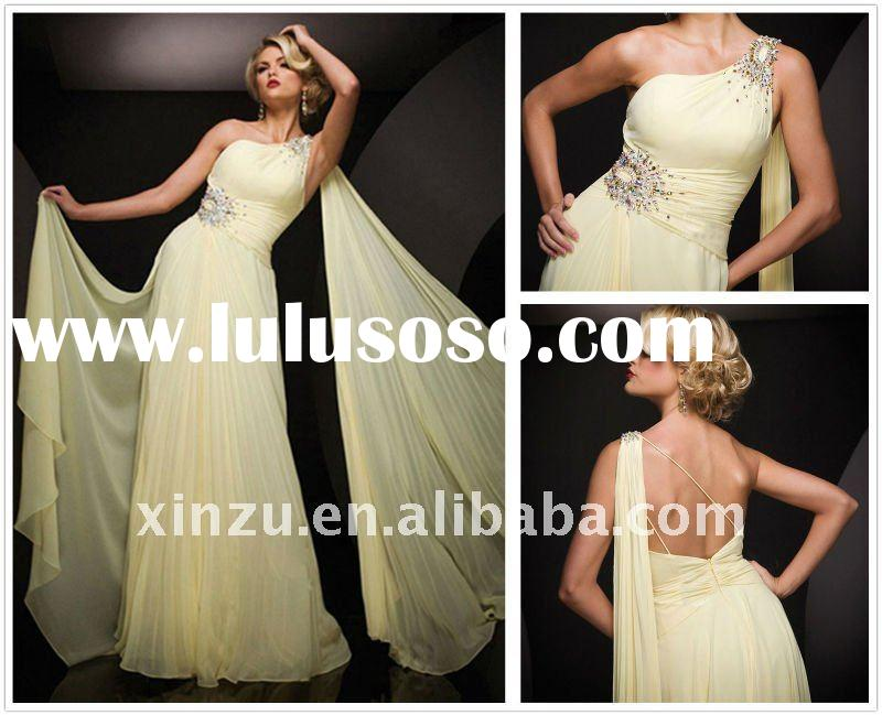 2012 Light Yellow One Shoulder Floor length Pleated Chiffon Beads Working Evening dress--SZED3006