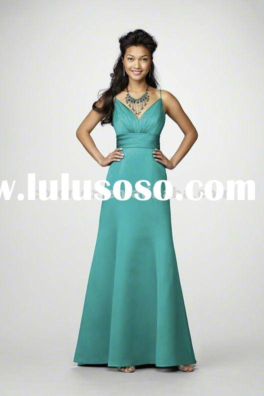2012 Newest Jade Spaghetti Strap V-neck Sweep Train Spring Bridesmaid Dress 2012
