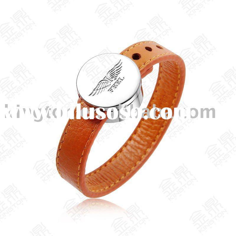 2012 fashion 316L stainless steel leather bracelet