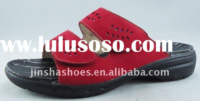 2012 new collection ladies genuine leather slippers and sandals