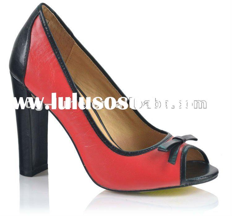 2012 new kid leather peep toe thick heel high heel sandal women lady dress shoes