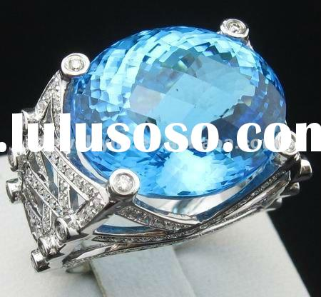 22CT!! SOLID 14k WHITE GOLD NATURAL DIAMOND & BLUE TOPAZ RING Jewelry Settings