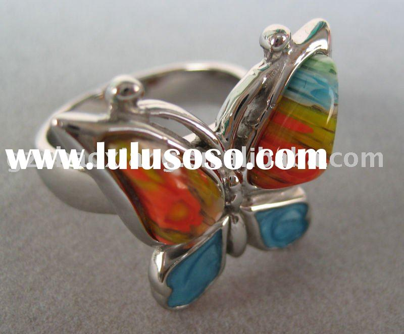 316L Stainless steel new fashion millefiori murano glass butterfly jewelry factories