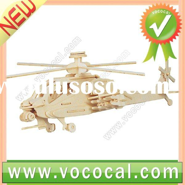 3D Jigsaw Puzzle Toy Woodcraft Apache Helicopter