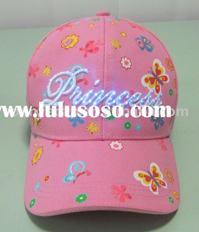 3d princess embroidery baseball cap with led lights
