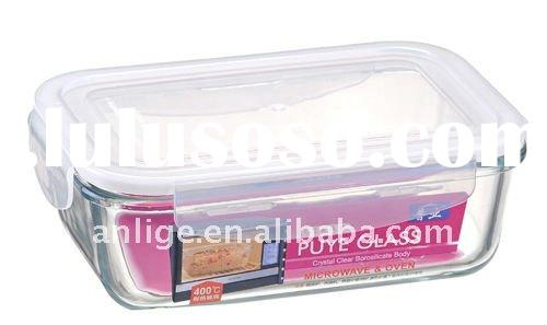550ML rectangle glass food container for freshness, microwave and heatable