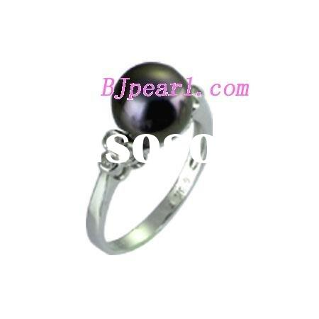 7.5# 11-12mm AA black Tahitian pearl and 14K platinum ring decorated by zircon.
