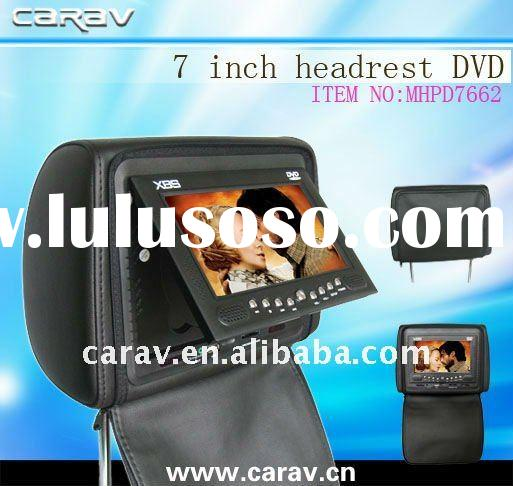 "7"" TFT-LCD headrest car DVD player with wireless game,USB/SD,FM,Zipper cover/TV optional"