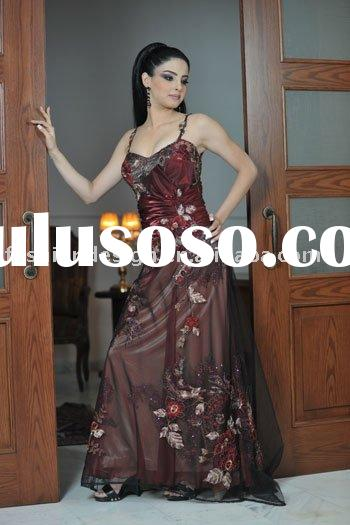 A095 Unique fashion designer lebanon bridal dark color muslim wedding dress