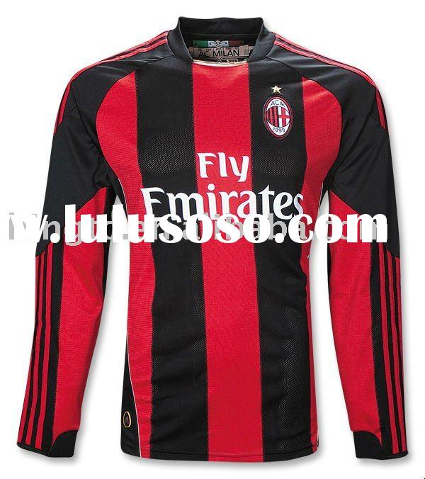 AC Milan 10-11 Home Soccer Jersey Long Sleeve