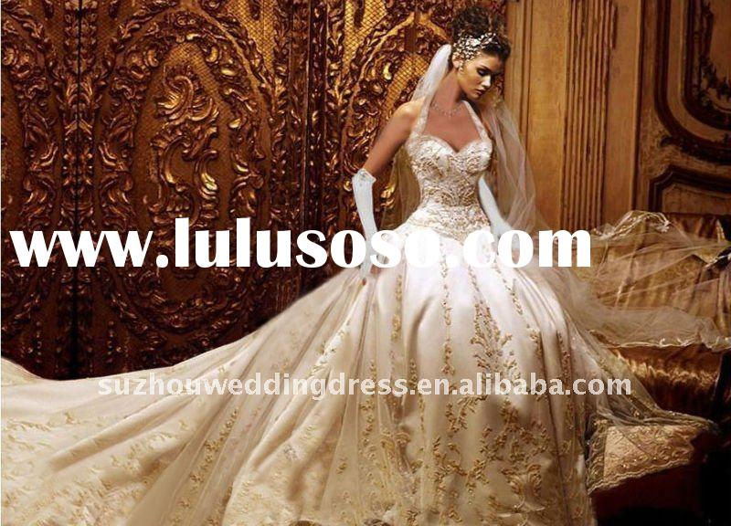 A-line embroidered fashion ivory wedding dress with long train BG1