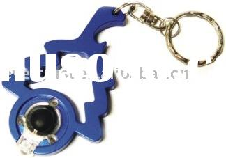 Aluminum Carabiner with LED Light, Opener and Swivel Keyring.