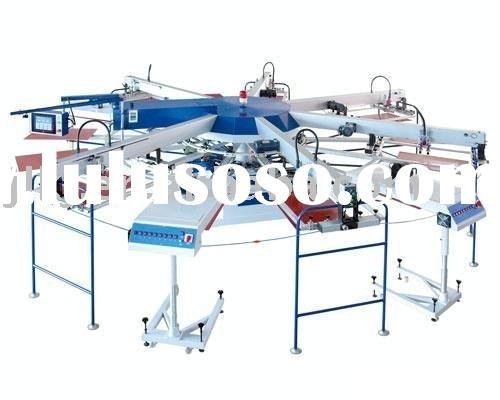 Automatic 6 color 14 station T shirt screen printing machine