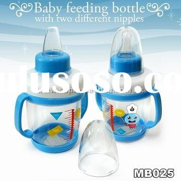Baby Feeding Bottle with Two Different Nipples