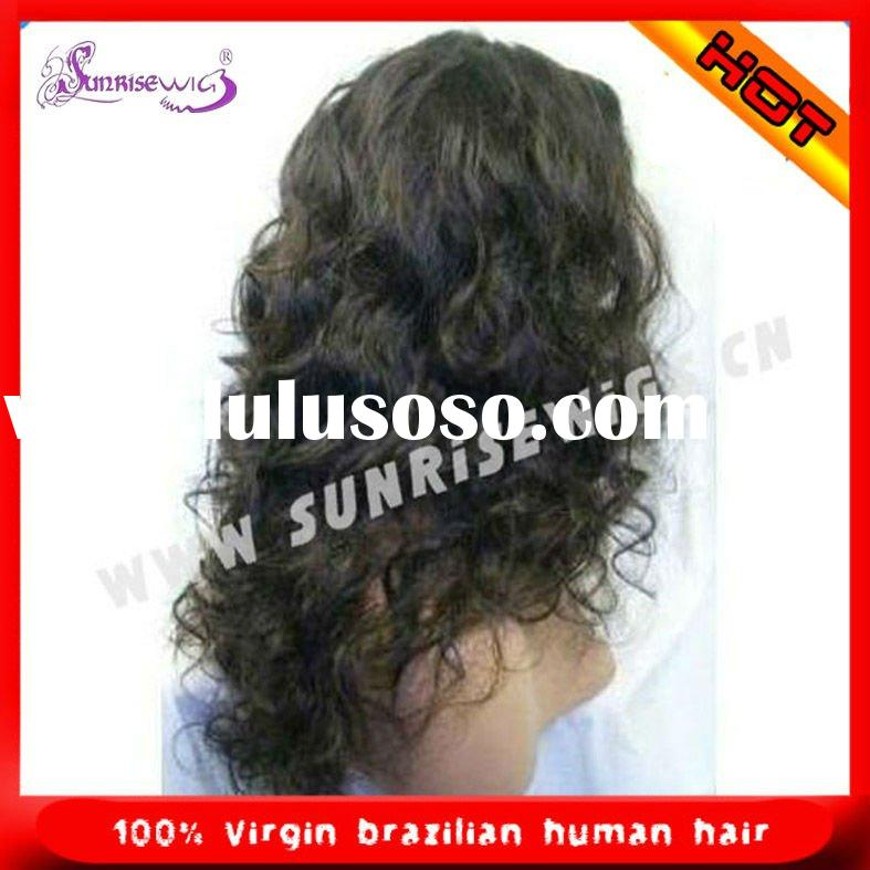 Beautiful curly Indian remy hair full lace wigs for black woman accept paypal