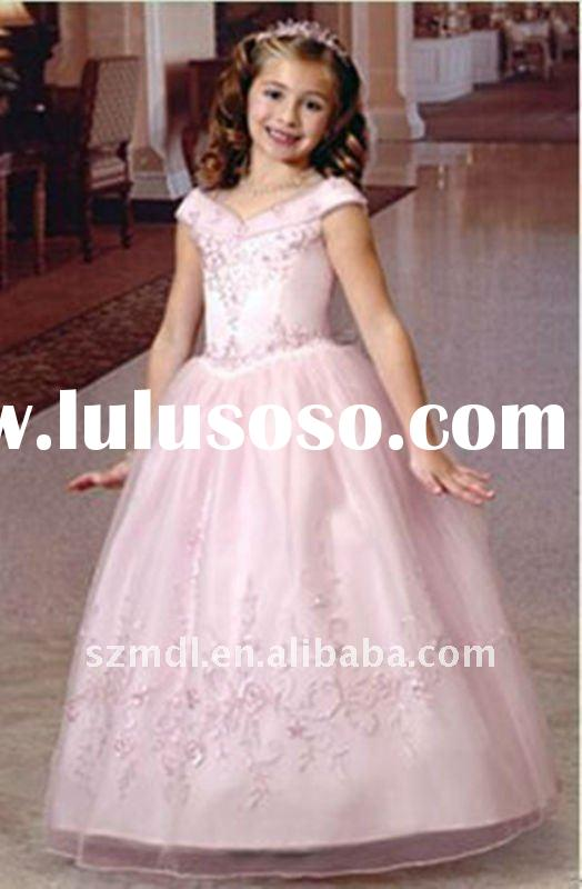 Beautiful sleeveless pink long princess ball gown flower girl dress