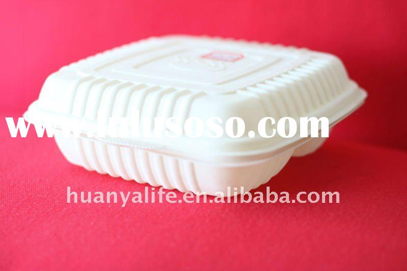 Biodegradable Corn Starch clamshell take out food container! Three corns