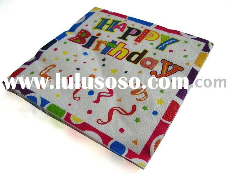Birthday paper napkin (kids party supplies)