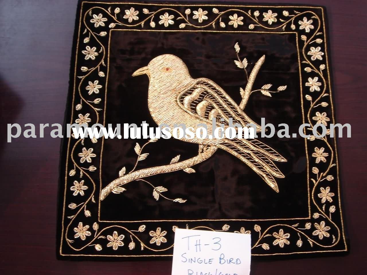 Black velvet handmade gold metallic thread single bird design cushion cover