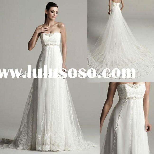 Brand New PV704 Empire Waist Lace and Chiffon Wedding Dress