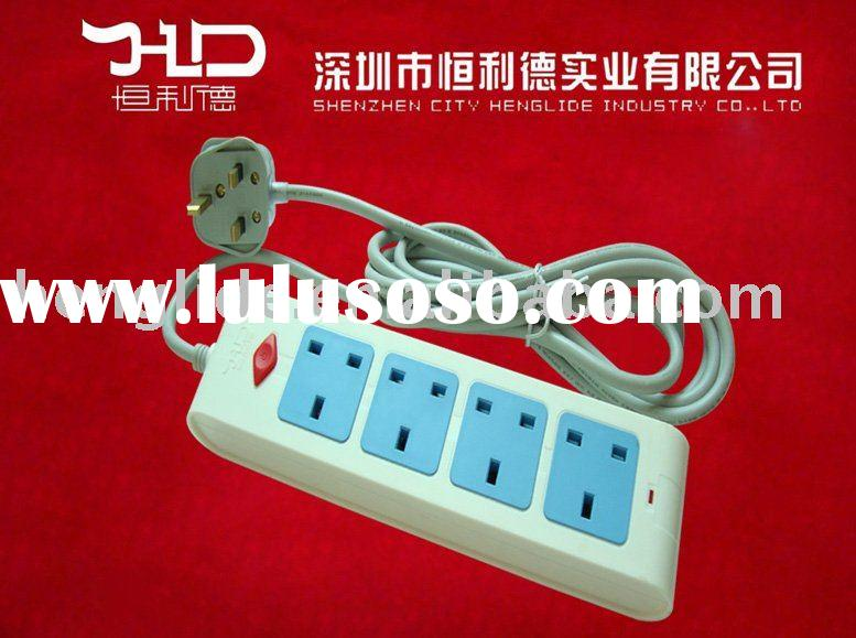 British socket switch and British extension socket with power cord