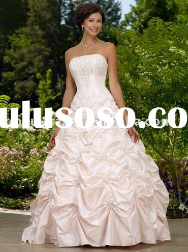 China wholesale cheap pink ball gown wedding dresses with pleats RDW-039