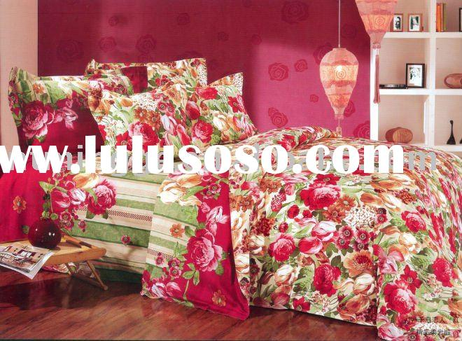Cotton reactive printed duvet cover bed set