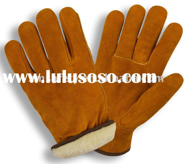 Cow Split Leather Synthetic Fur Lining Winter Glove ZM 707-J