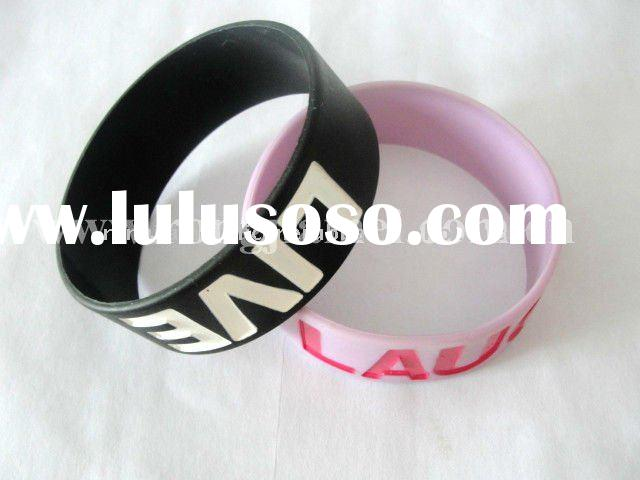 Customized thin silicone bracelet with debossed logo 1 inch