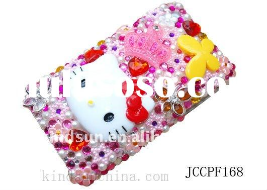 Cute hello kitty bling cell phone case for iphone4