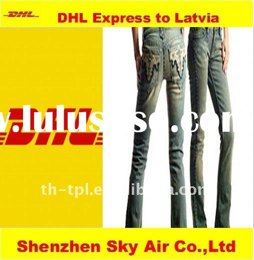 DHL express of jeans from shenzhen to Latvia by door to door service