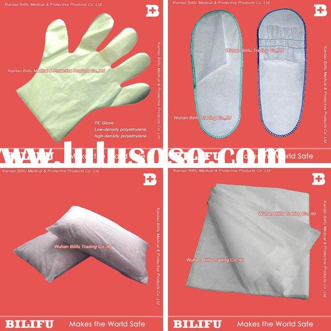 Disposable PE gloves, slipper, non woven bed sheet, pillow cover
