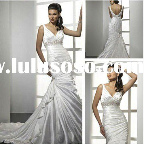 Elegant Stretch Satin Sheath Mermaid V-Neck Chapel Train White Wedding Dresses