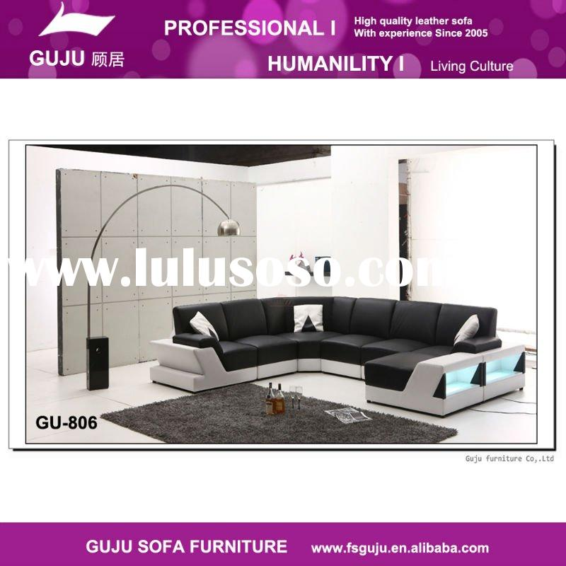 Exquisite modern furniture contemporary leather living room sofa set GU-806, white/black