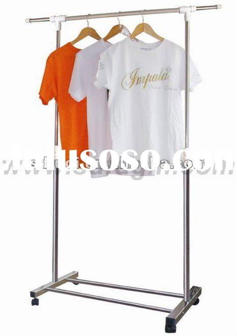 Extendable Stainless Steel Single-Rail Garment Rack Stand