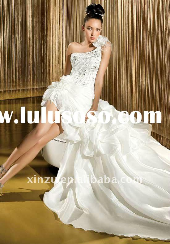 Fashion Charming One Flower Strap Beading Short Front Long Back Wedding Dress--WD1089