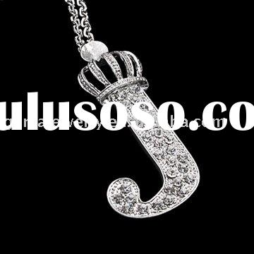 Fashion Jewelry Necklace With Initial Letter J Crown Pendant