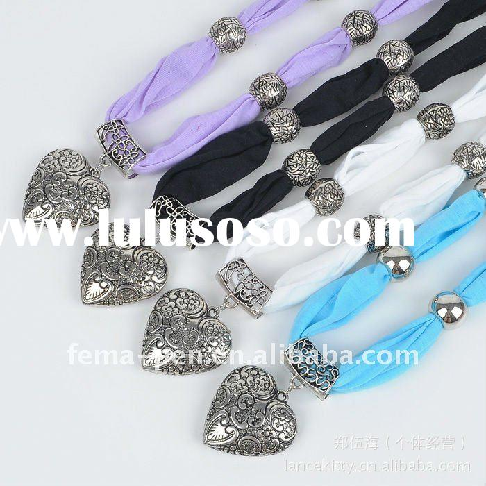 Fashion Jewelry Scarf with Metal Accessories