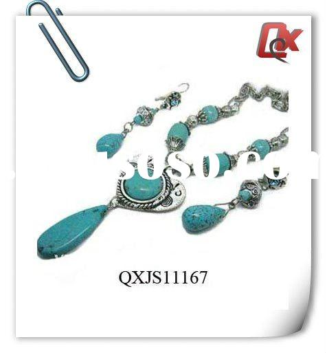 Fashion turquoise alloy jewelery set ,necklace and earring set (QXJS11167)