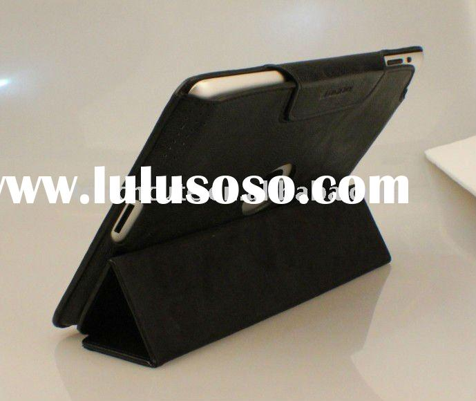 Fashional Flip Leather case for iPad 2 with Stand and a hole on the back cover to show the logo