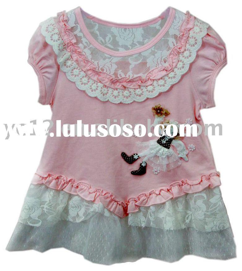 Girl Lace Embroidered Splice Short Sleeve O-neck T-shirt