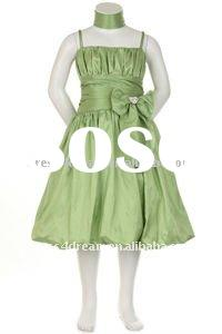 Green taffeta children party dresses girls party dresses